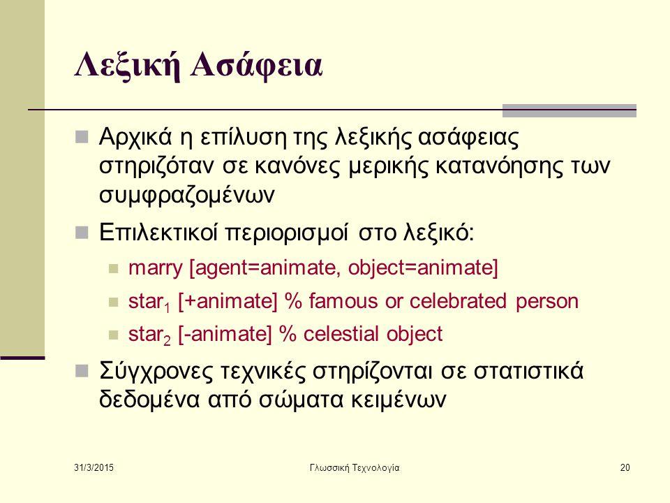 Λεξική Ασάφεια Αρχικά η επίλυση της λεξικής ασάφειας στηριζόταν σε κανόνες μερικής κατανόησης των συμφραζομένων.