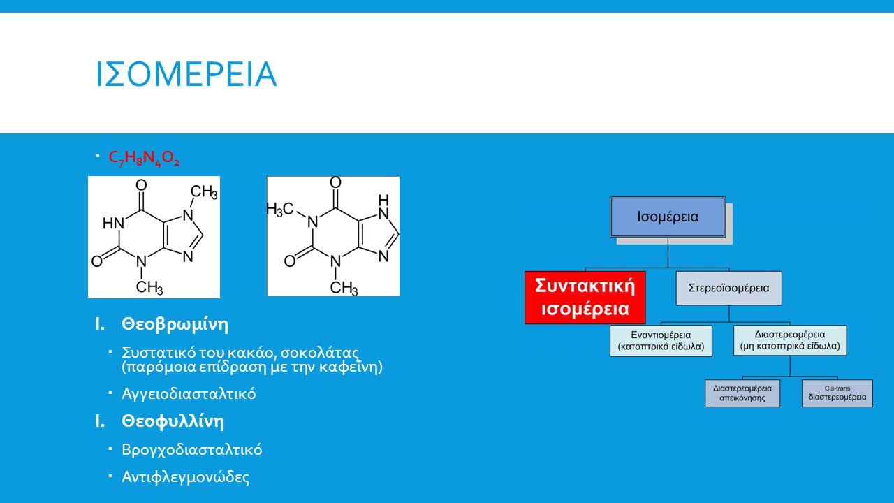 Ισομερεια Θεοβρωμίνη Θεοφυλλίνη C7H8N4O2