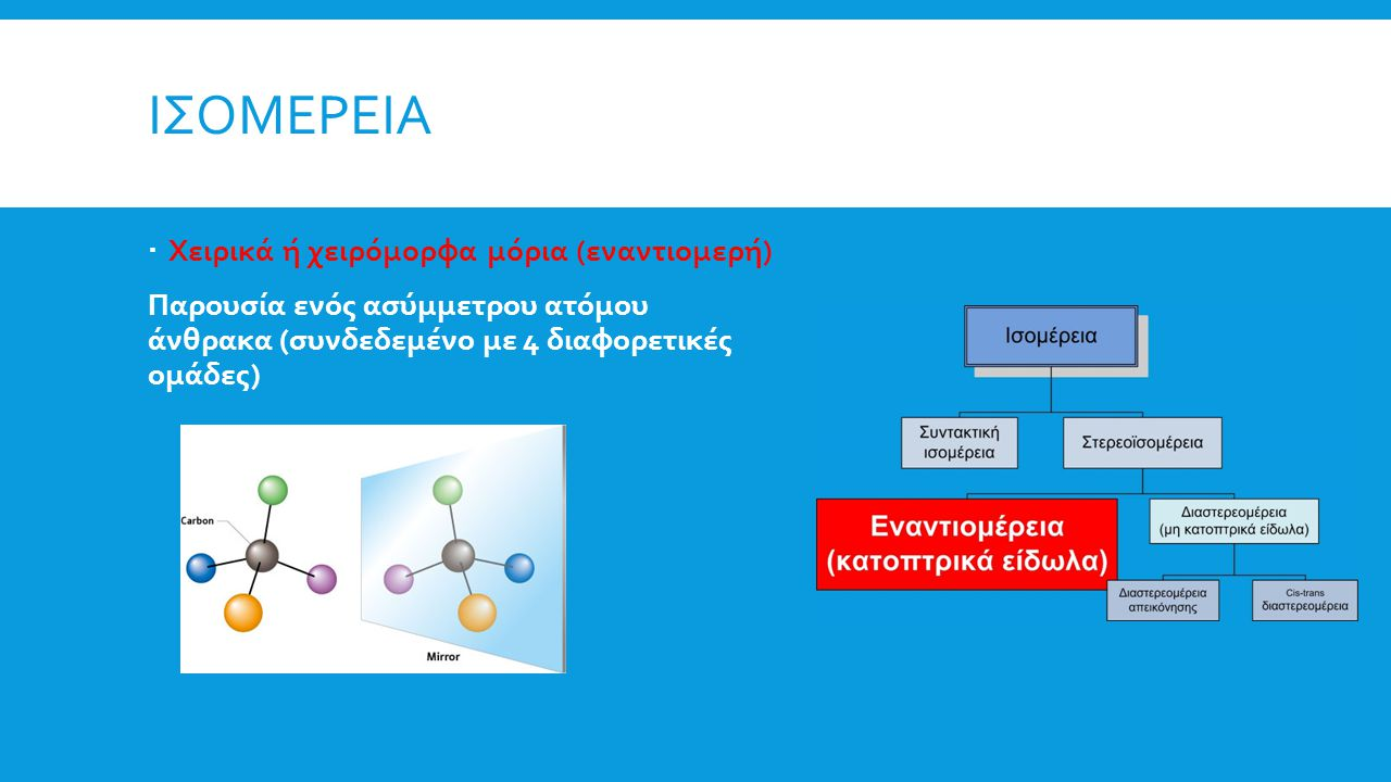Ισομερεια Χειρικά ή χειρόμορφα μόρια (εναντιομερή)
