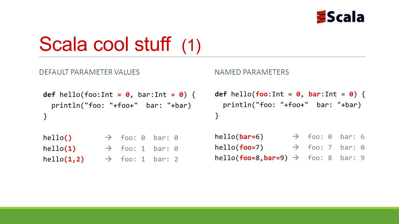 Scala cool stuff (1) Default Parameter Values Named Parameters