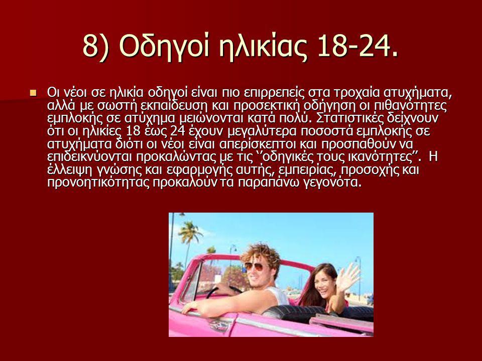 8) Οδηγοί ηλικίας 18-24.