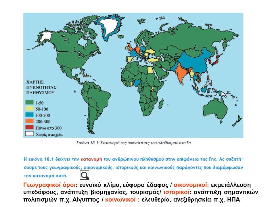 Γεωγραφικοί όροι: ευνοϊκό κλίμα, εύφορο έδαφος / οικονομικοί: εκμετάλλευση υπεδάφους, ανάπτυξη βιομηχανίας, τουρισμός/ ιστορικοί: ανάπτυξη σημαντικών πολιτισμών π.χ.