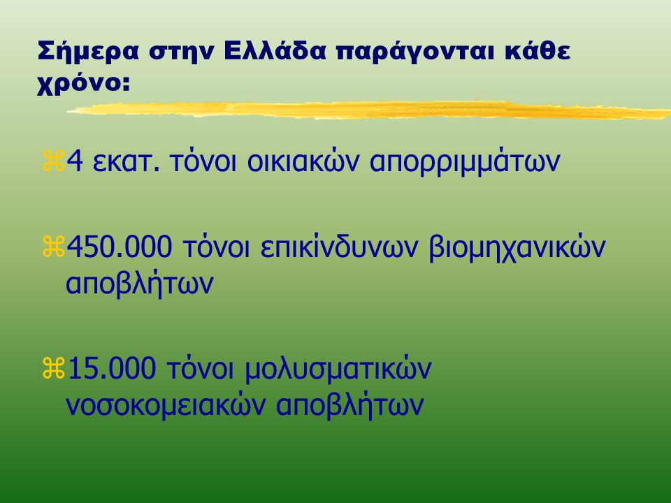 Σήμερα στην Ελλάδα παράγονται κάθε χρόνο: