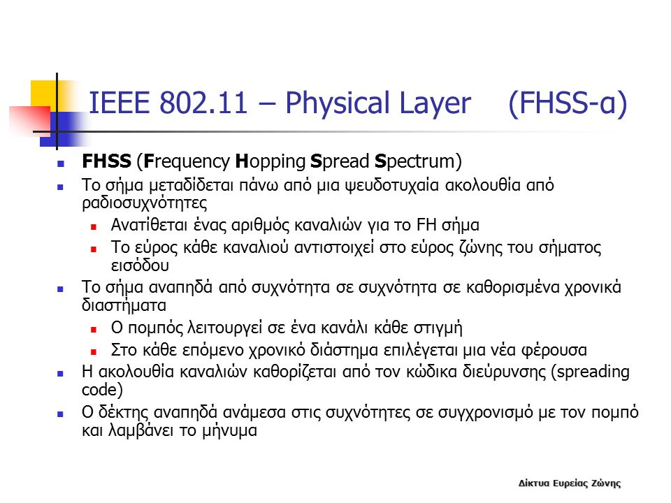 ΙΕΕΕ 802.11 – Physical Layer (FHSS-α)