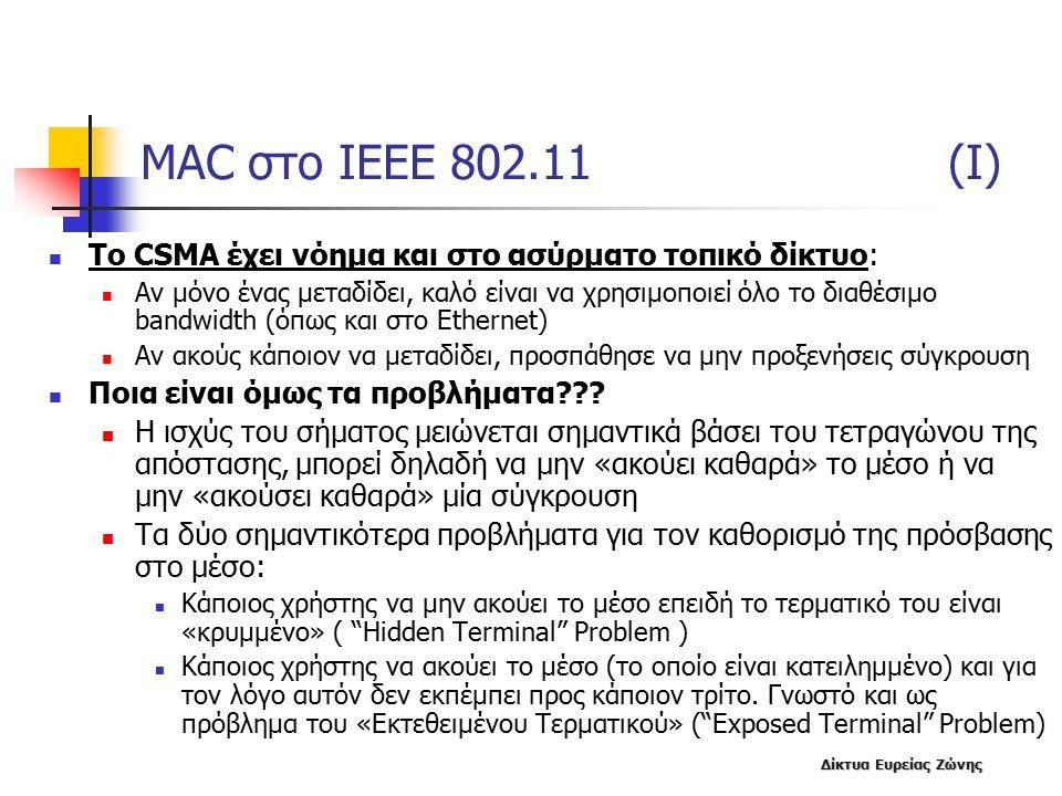 MAC στο IEEE 802.11 (I) To CSMA έχει νόημα και στο ασύρματο τοπικό δίκτυο: