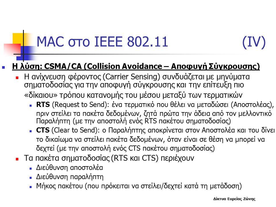 MAC στο IEEE 802.11 (IV) Η λύση: CSMA/CA (Collision Avoidance – Αποφυγή Σύγκρουσης)