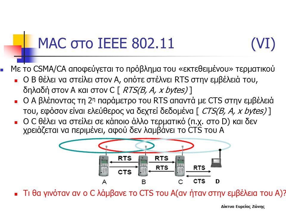 MAC στο IEEE 802.11 (VΙ) Με το CSMA/CA αποφεύγεται το πρόβλημα του «εκτεθειμένου» τερματικού.