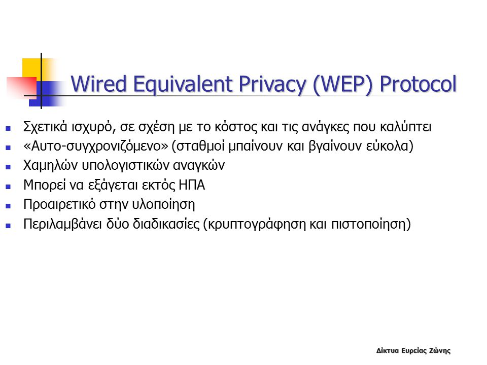 Wired Equivalent Privacy (WEP) Protocol
