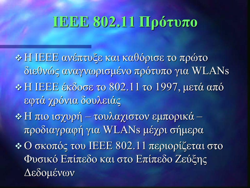 IEEE 802.11 Πρότυπο Η IEEE ανέπτυξε και καθόρισε το πρώτο διεθνώς αναγνωρισμένο πρότυπο για WLANs.