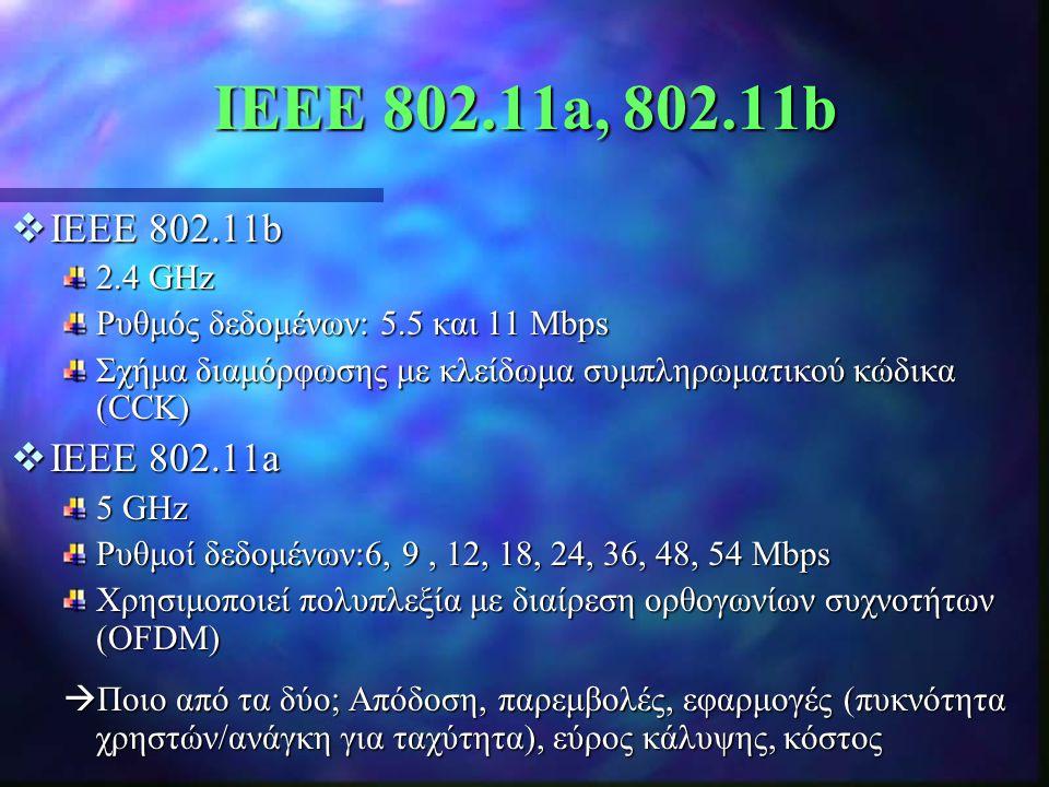 IEEE 802.11a, 802.11b IEEE 802.11b. 2.4 GHz. Ρυθμός δεδομένων: 5.5 και 11 Mbps. Σχήμα διαμόρφωσης με κλείδωμα συμπληρωματικού κώδικα (CCK)