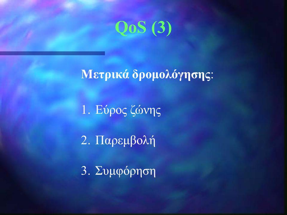 QoS (3) Μετρικά δρομολόγησης: Εύρος ζώνης Παρεμβολή Συμφόρηση