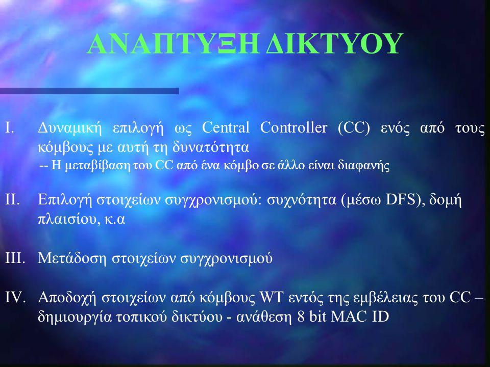ΑΝΑΠΤΥΞΗ ΔΙΚΤΥΟΥ Δυναμική επιλογή ως Central Controller (CC) ενός από τους κόμβους με αυτή τη δυνατότητα.