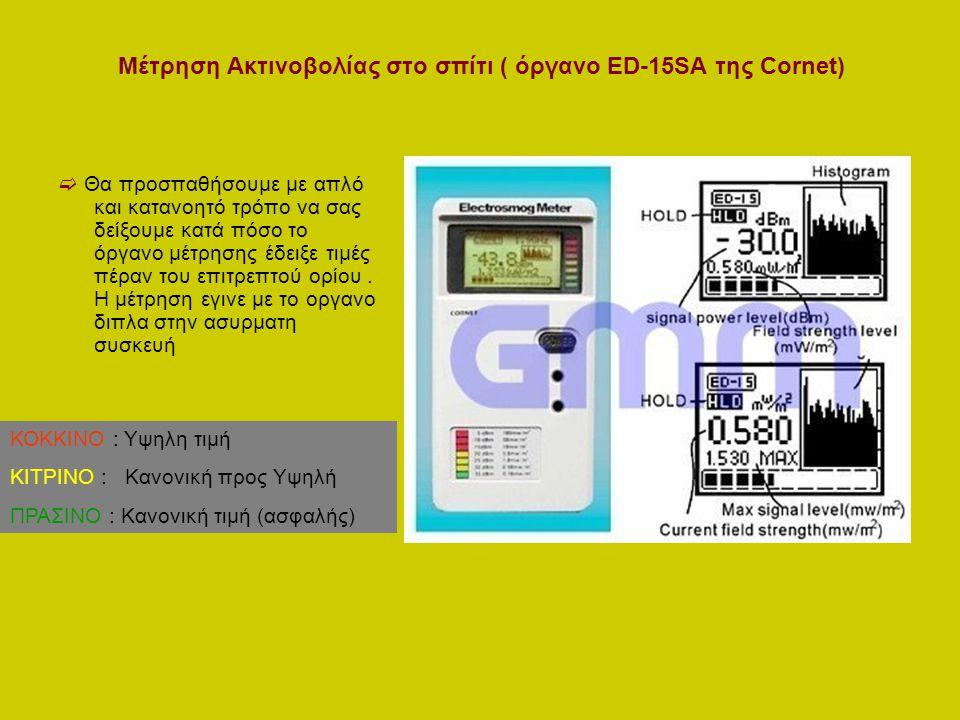 Μέτρηση Ακτινοβολίας στο σπίτι ( όργανο ED-15SA της Cornet)