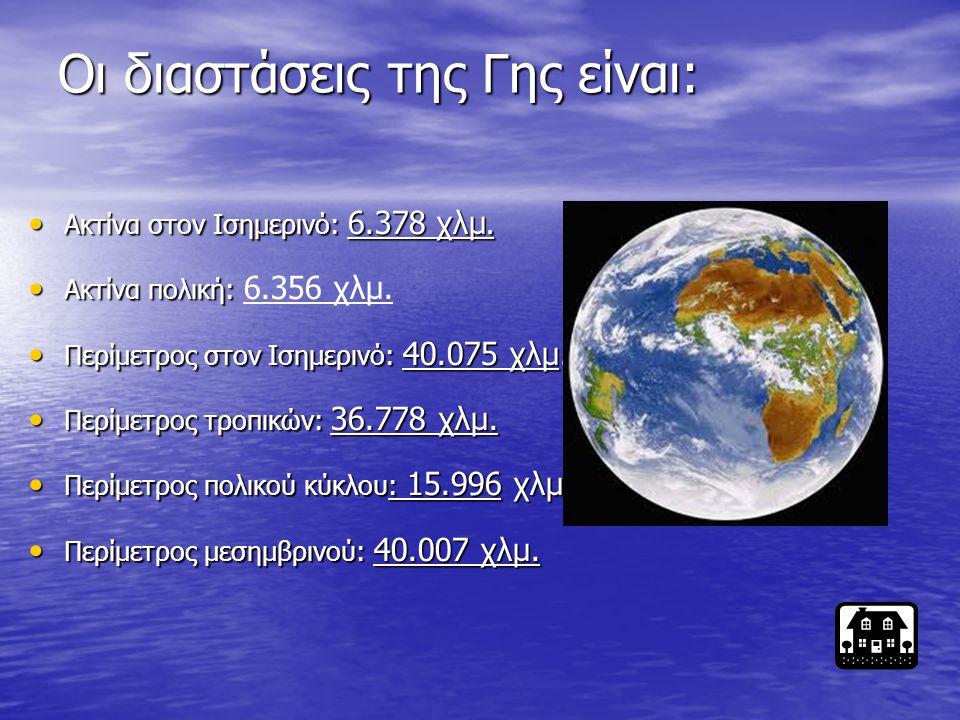 Οι διαστάσεις της Γης είναι: