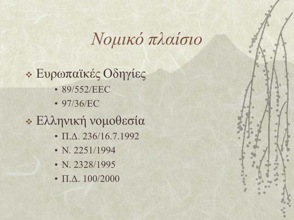 Νομικό πλαίσιο Ευρωπαϊκές Οδηγίες Ελληνική νομοθεσία 89/552/EEC