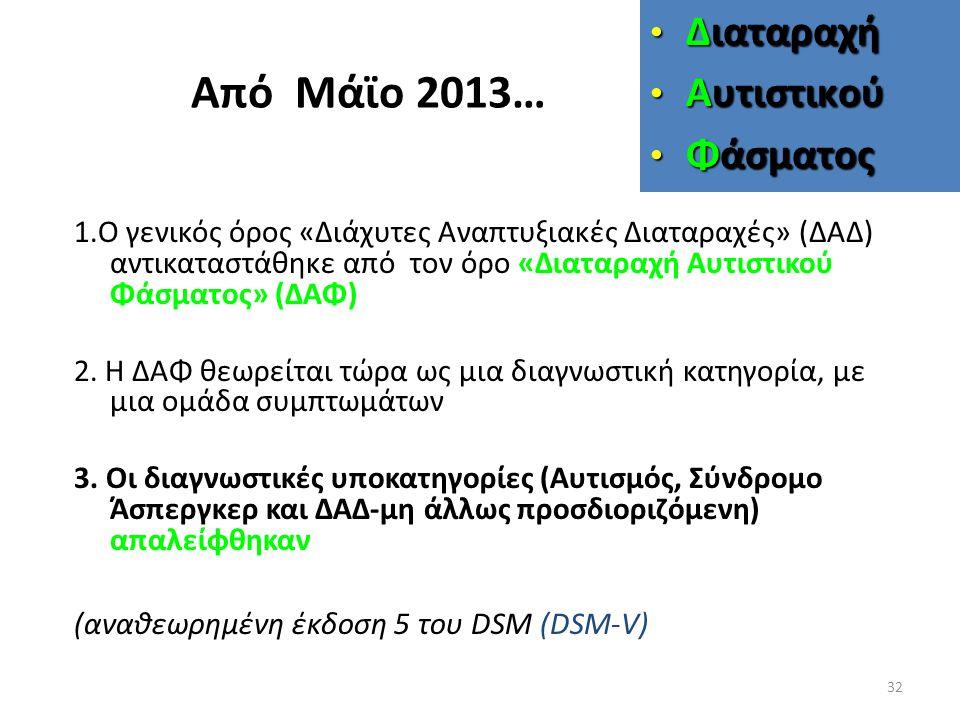 Από Μάϊο 2013… Διαταραχή Αυτιστικού Φάσματος