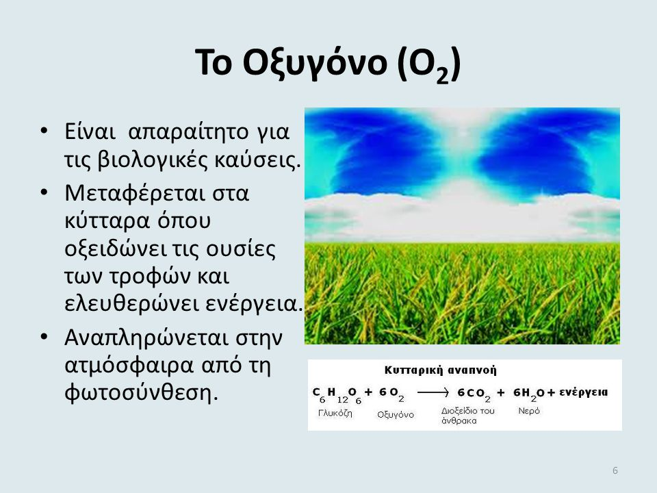 Το Οξυγόνο (Ο2) Είναι απαραίτητο για τις βιολογικές καύσεις.