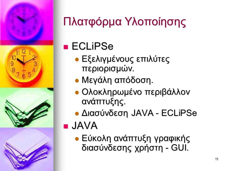 Πλατφόρμα Υλοποίησης ECLiPSe JAVA Εξελιγμένους επιλύτες περιορισμών.