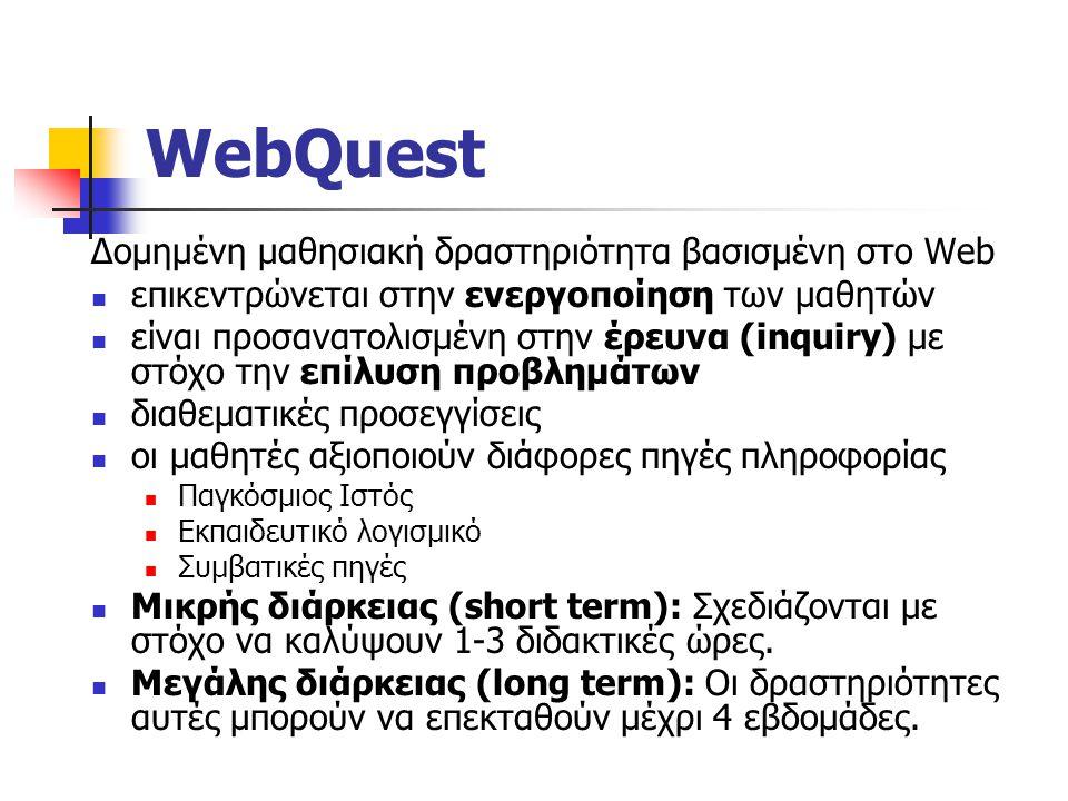 WebQuest Δομημένη μαθησιακή δραστηριότητα βασισμένη στο Web