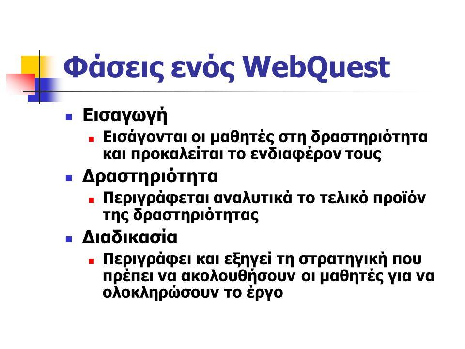 Φάσεις ενός WebQuest Εισαγωγή Δραστηριότητα Διαδικασία