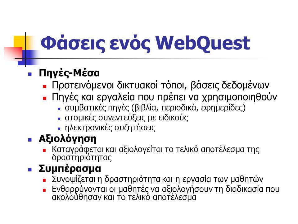 Φάσεις ενός WebQuest Πηγές-Μέσα