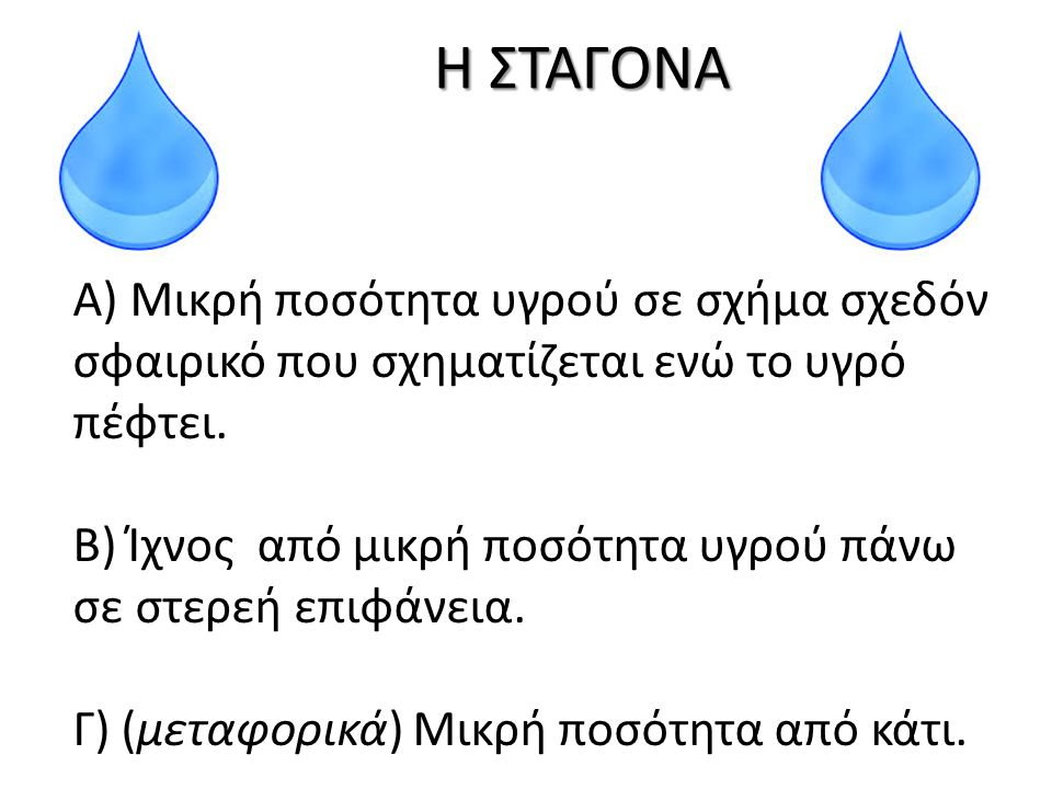 Β) Ίχνος από μικρή ποσότητα υγρού πάνω σε στερεή επιφάνεια.