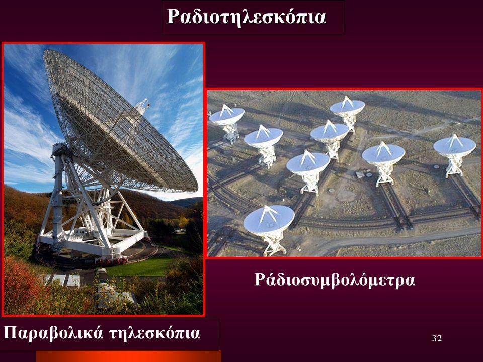 Ραδιοτηλεσκόπια Ράδιοσυμβολόμετρα Παραβολικά τηλεσκόπια