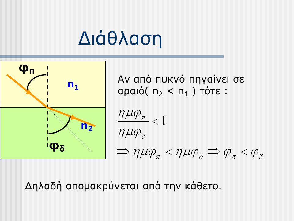Διάθλαση φπ φδ Αν από πυκνό πηγαίνει σε αραιό( n2 < n1 ) τότε : n1
