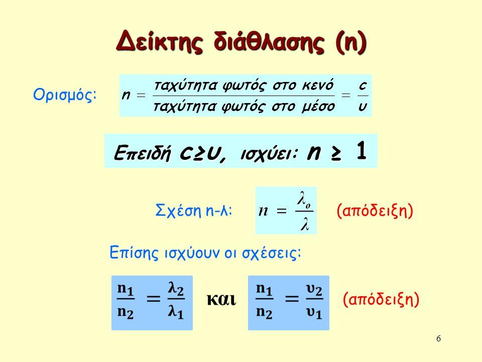 Δείκτης διάθλασης (n) Επειδή c≥υ, ισχύει: n ≥ 1 Ορισμός: (απόδειξη)