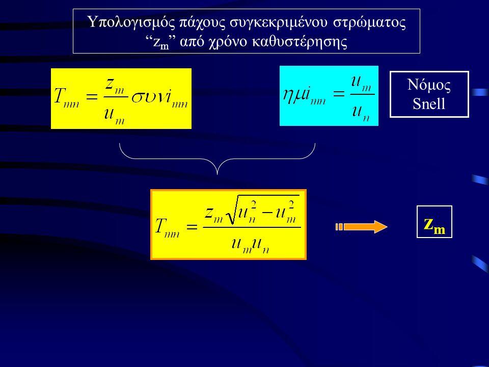 Υπολογισμός πάχους συγκεκριμένου στρώματος zm από χρόνο καθυστέρησης