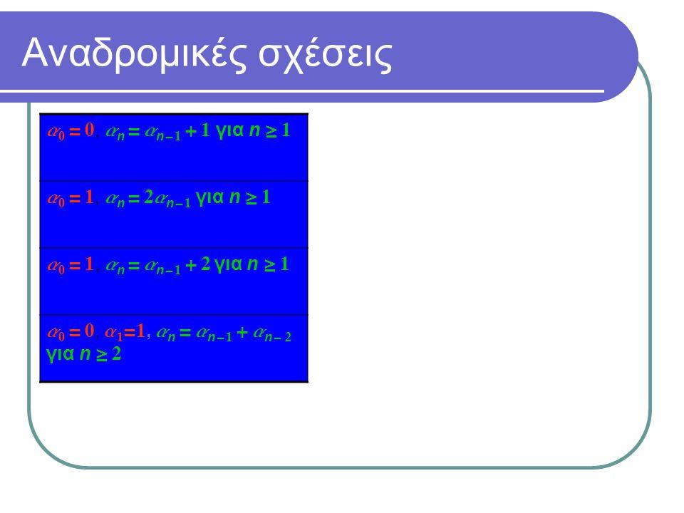 Αναδρομικές σχέσεις a0 = 0, an = an- 1 + 1 για n  1