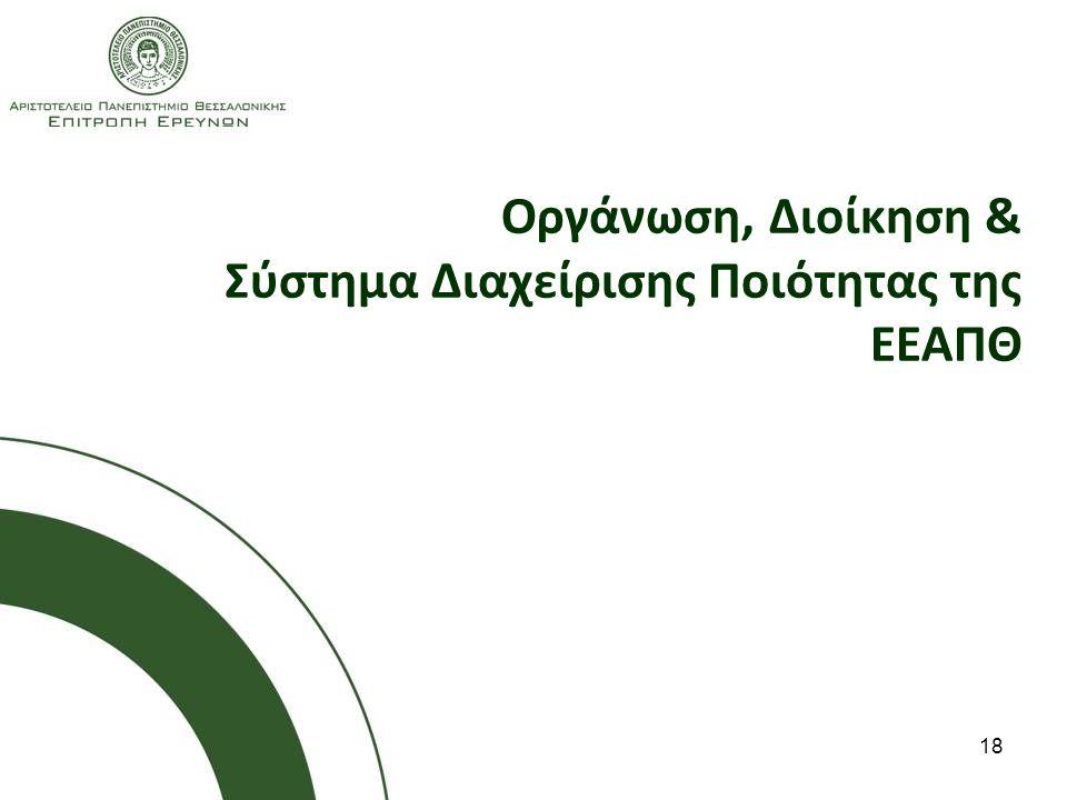 Οργάνωση, Διοίκηση & Σύστημα Διαχείρισης Ποιότητας της ΕΕΑΠΘ