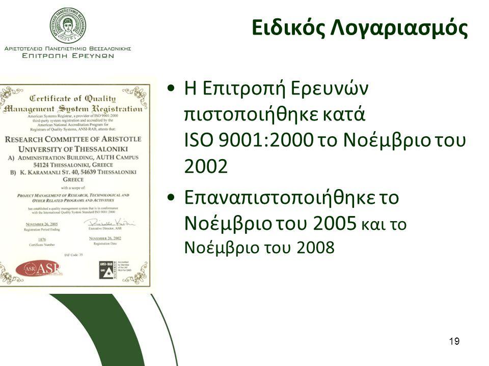 Ειδικός Λογαριασμός Η Επιτροπή Ερευνών πιστοποιήθηκε κατά ISO 9001:2000 το Νοέμβριο του 2002.