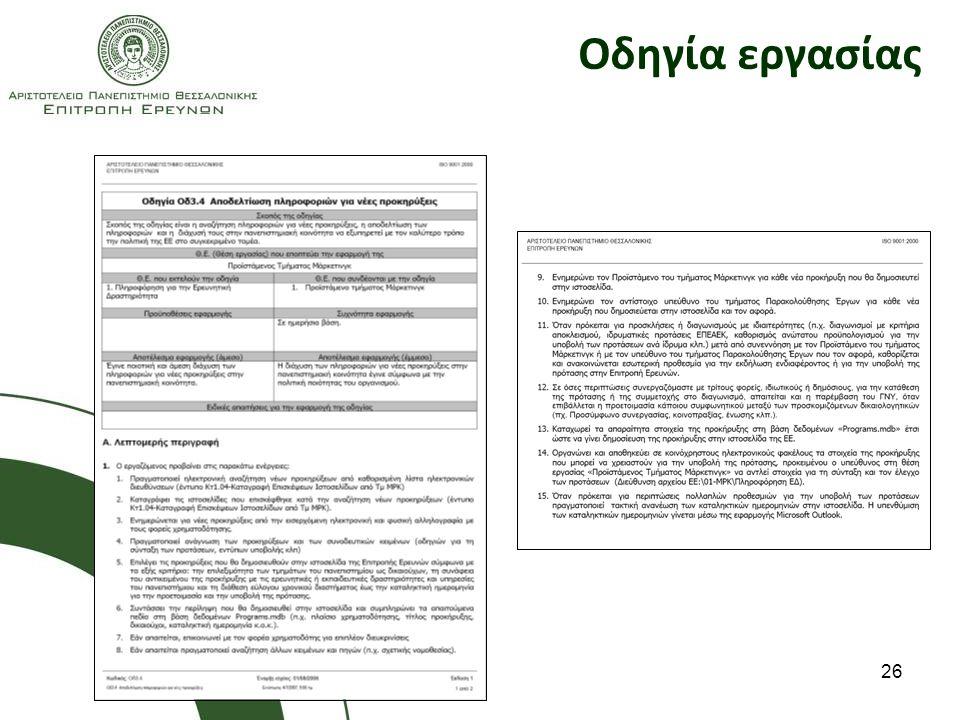 Οδηγία εργασίας