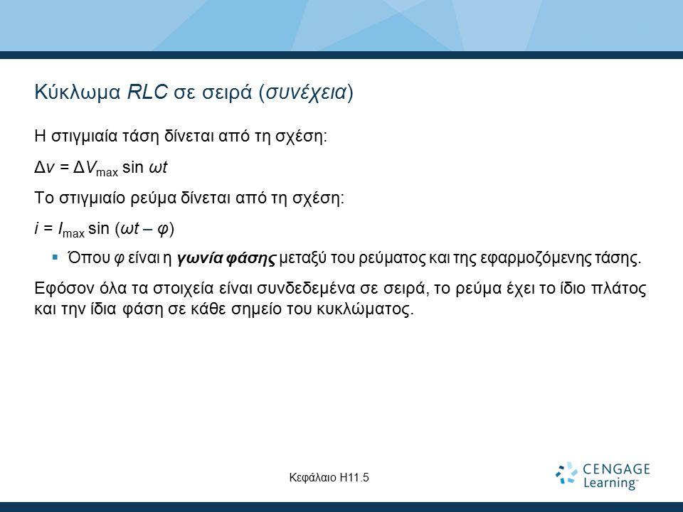 Κύκλωμα RLC σε σειρά (συνέχεια)