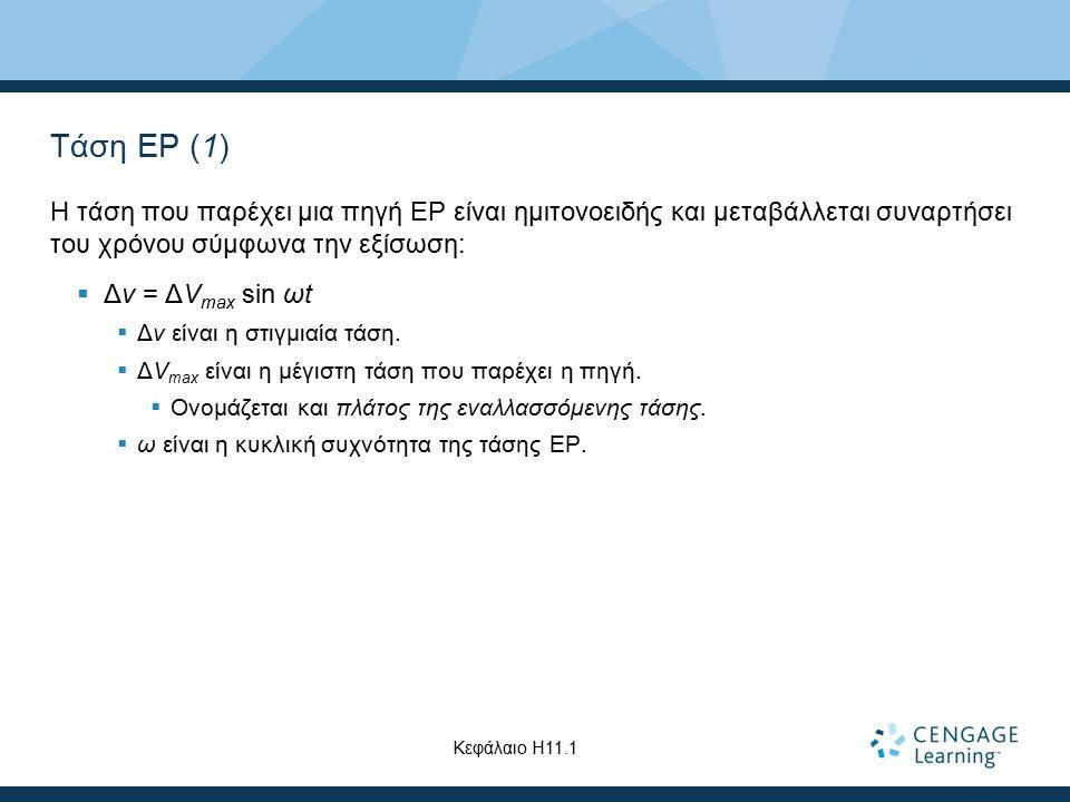 Τάση ΕΡ (1) Η τάση που παρέχει μια πηγή ΕΡ είναι ημιτονοειδής και μεταβάλλεται συναρτήσει του χρόνου σύμφωνα την εξίσωση: