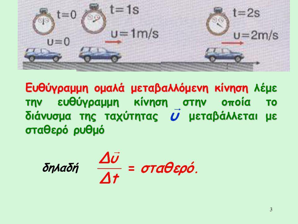 Ευθύγραμμη ομαλά μεταβαλλόμενη κίνηση λέμε την ευθύγραμμη κίνηση στην οποία το διάνυσμα της ταχύτητας μεταβάλλεται με σταθερό ρυθμό