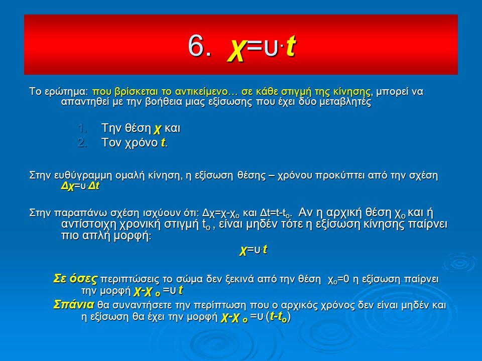 6. χ=υ.t Την θέση χ και Τον χρόνο t. χ=υ.t