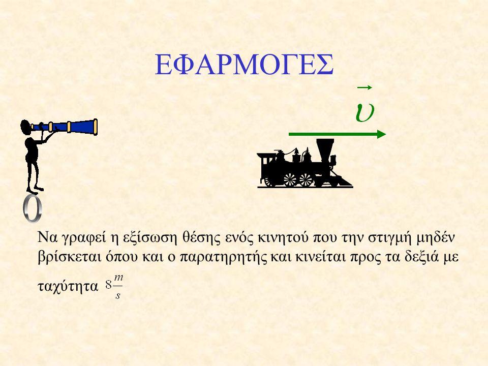 ΕΦΑΡΜΟΓΕΣ Ο. Να γραφεί η εξίσωση θέσης ενός κινητού που την στιγμή μηδέν βρίσκεται όπου και ο παρατηρητής και κινείται προς τα δεξιά με.