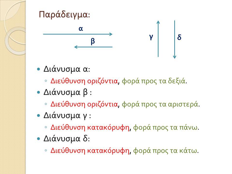 Παράδειγμα: Διάνυσμα α: Διάνυσμα β : Διάνυσμα γ : Διάνυσμα δ: α γ δ β