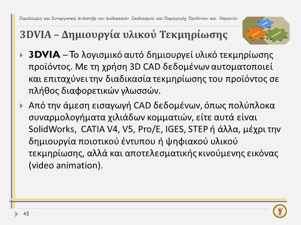 3DVIA – Δημιουργία υλικού Τεκμηρίωσης