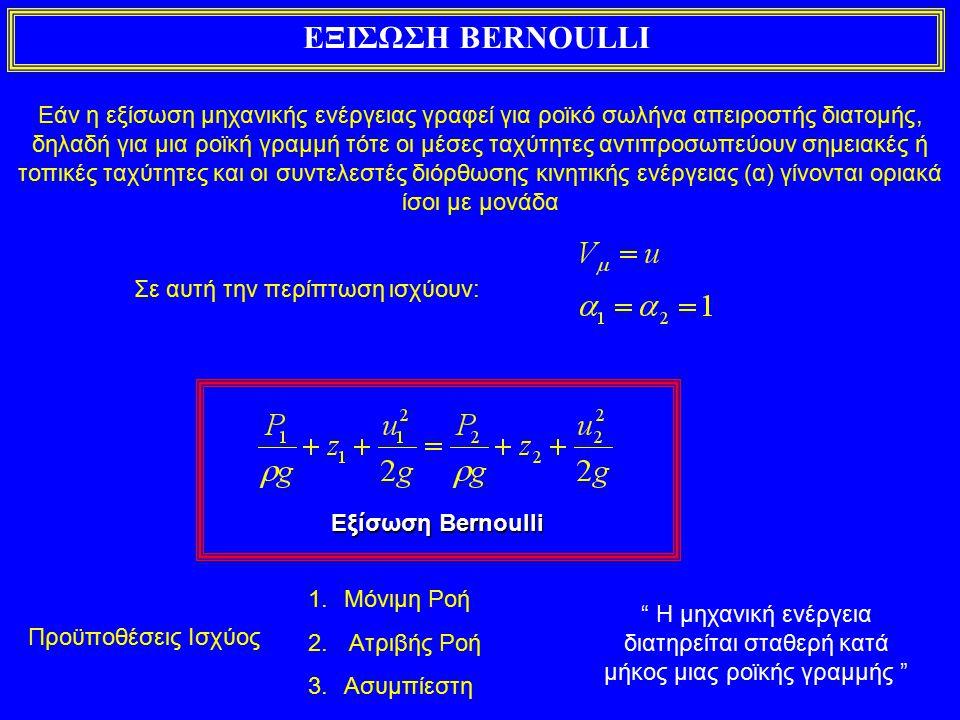 ΕΞΙΣΩΣΗ BERNOULLI