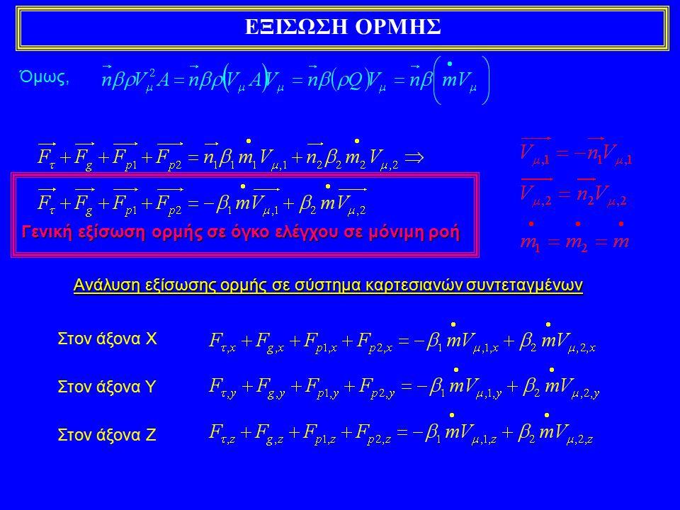 Γενική εξίσωση ορμής σε όγκο ελέγχου σε μόνιμη ροή