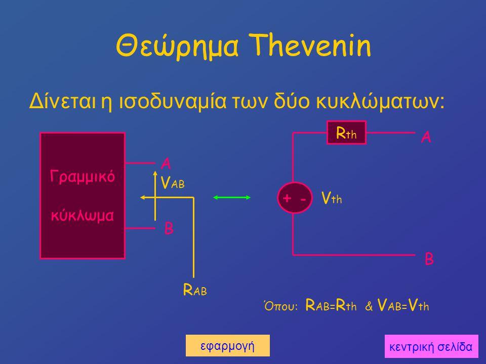 Θεώρημα Thevenin Δίνεται η ισοδυναμία των δύο κυκλώματων: Rth Α