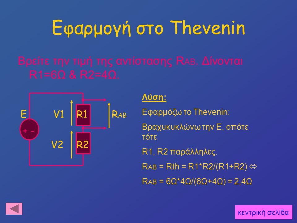 Εφαρμογή στο Thevenin Βρείτε την τιμή της αντίστασης RAB. Δίνονται R1=6Ω & R2=4Ω. Λύση: Εφαρμόζω το Thevenin: