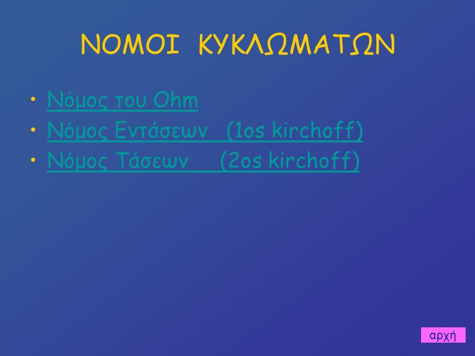 ΝΟΜΟΙ ΚΥΚΛΩΜΑΤΩΝ Νόμος του Ohm Νόμος Εντάσεων (1os kirchoff)