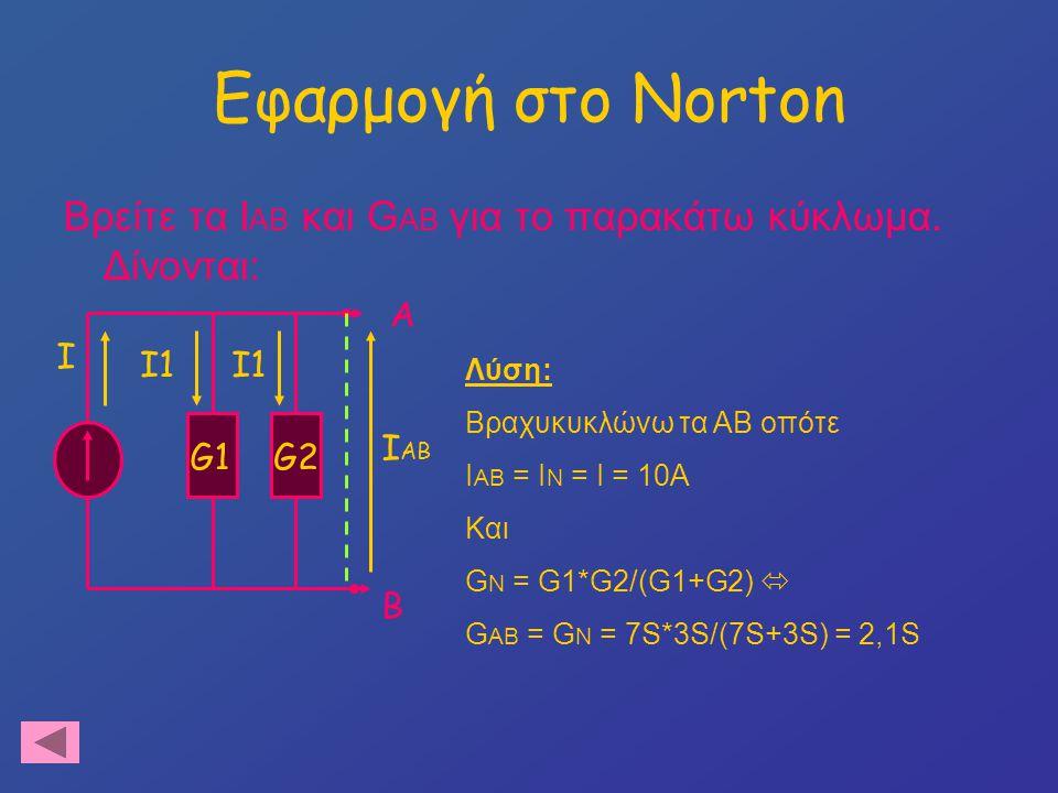 Εφαρμογή στο Norton Βρείτε τα IAB και GAB για το παρακάτω κύκλωμα. Δίνονται: Α. I. I1. I1. Λύση: