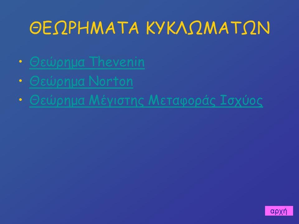ΘΕΩΡΗΜΑΤΑ ΚΥΚΛΩΜΑΤΩΝ Θεώρημα Thevenin Θεώρημα Norton