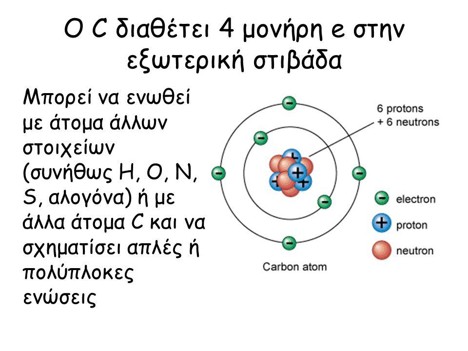 Ο C διαθέτει 4 μονήρη e στην εξωτερική στιβάδα