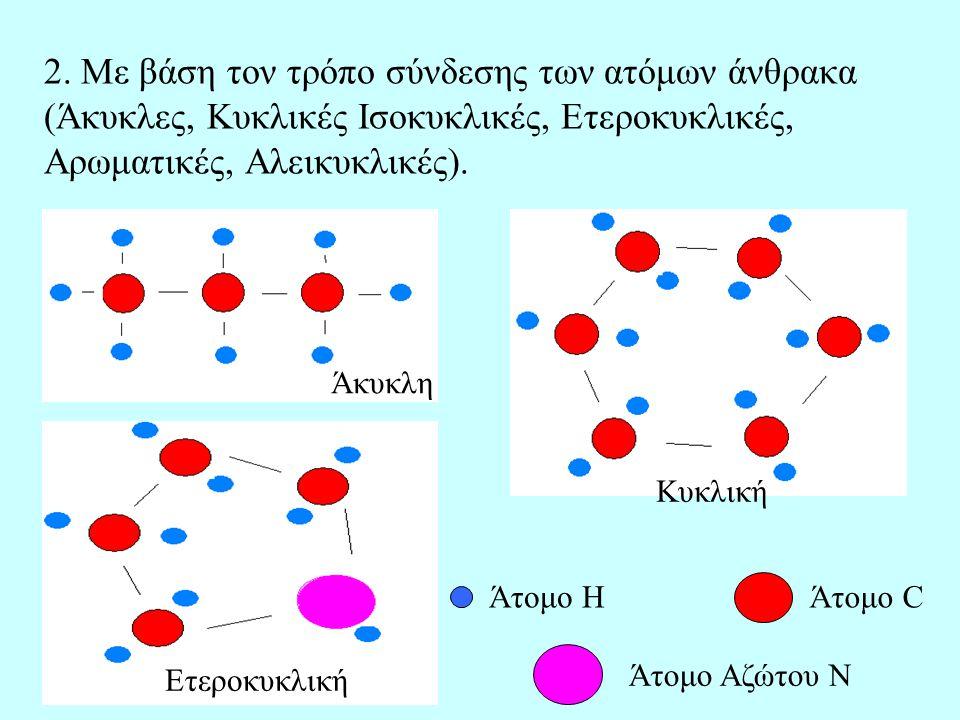 2. Με βάση τον τρόπο σύνδεσης των ατόμων άνθρακα